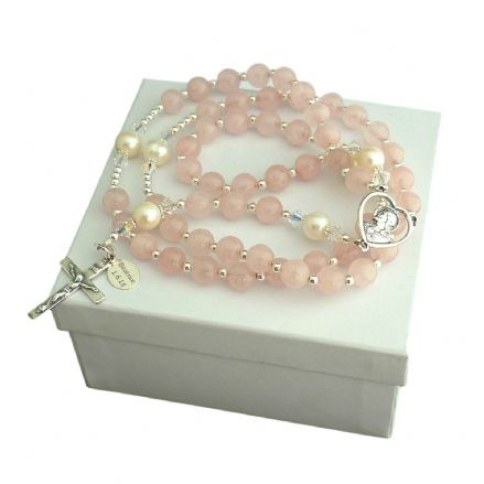 Personalised Rosary Rose Quartz & Pearl, Sterling Silver